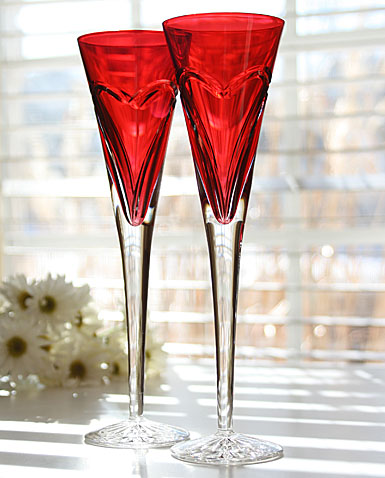Waterford Love and Romance Red Flute, Pair