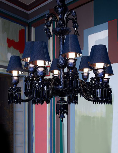 baccarat zenith midnight chandelier with dark blue jean colored lampshades 12 light. Black Bedroom Furniture Sets. Home Design Ideas