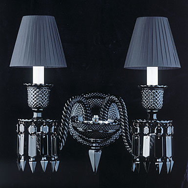 Baccarat Zenith 2 Light Black Sconce Starck By Philippe Starck